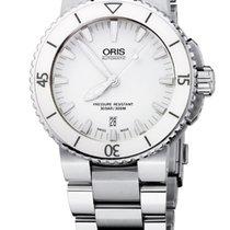 Oris Aquis Date White, Ceramic Top Ring, Steel Bracelet