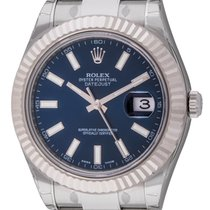 Rolex - Datejust II : 116334 blue dial on heavy Oyster...