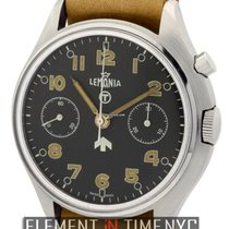 Lemania Military Single Pusher Chronograph Steel 40mm Ref.