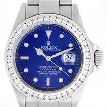 勞力士 (Rolex) Submariner Men's Steel Watch 16610 Custom Blue...