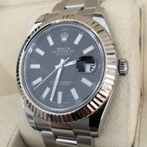Rolex Oyster Datejust II Steel Black Dial White Gold Bezel 41 mm