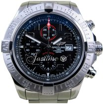 Breitling Super Avenger 2 A13371 XL 48mm Black Arabic Stainles...