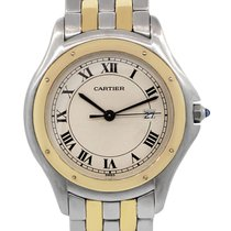 Cartier 1332 Cougar Panthere Two Tone Roman Dial Mens Watch