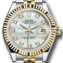 Rolex Datejust 28 279173 White Mother of Pearl Diamond Fluted...