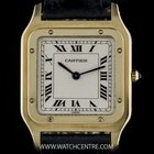 Cartier 18k Yellow Gold Silver Dial Santos Dumont Gents Watch