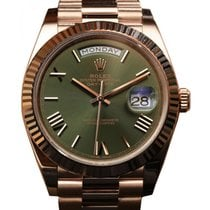Rolex Day-Date 40 228235 Olive Green Roman Rose Gold President...