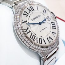 Cartier Ballon Bleu 36mm 18K White Gold Diamond Bezel Ret:$54,500