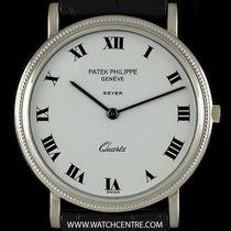 Patek Philippe 18k W/G Double Name Calatrava Quartz Retailed...