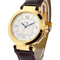 Cartier W3019551 Pasha 42mm in Yellow Gold - On Brown Leather...