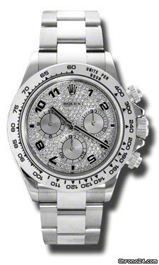 Rolex DAYTONA WHITE GOLD ON BRACELET FULL DIAMOND PAVE DIAL