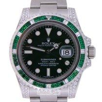 Rolex Submariner Hulk Emeralds and  Diamonds Custommade