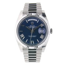 Rolex DAY-DATE 40 White Gold President Blue Roman Dial
