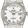 Rolex Day Date White Roman Dial Fluted Bezel President....