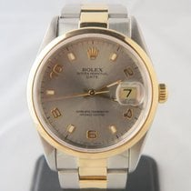 Rolex Date 18k Gold Steel Grey Dial Ref. 15203 (Box&Papers)