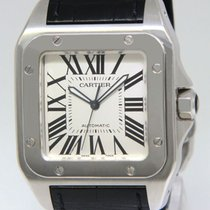 Cartier Santos 100 Stainless Steel Silver Dial Mens Watch 2656...