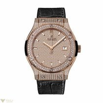 Hublot Classic Fusion King Gold Full Pave Ladies Watch