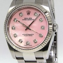 Rolex Oyster Perpetual Steel MOP Pink Diamond Dial 18k Gold...