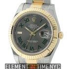 Rolex Datejust II 41mm Steel & Yellow Gold Grey Dial Green...