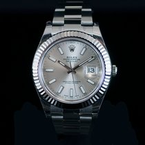 Rolex Datejust II Steel & 18K Wh Gold Bezel Silver STK