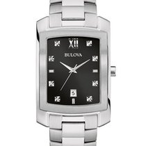 Bulova Mens Diamond Watch - Black Dial - Rectangular Case -...
