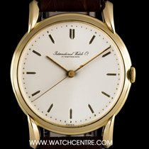 IWC 18k Yellow Gold Cream Baton Dial Vintage Gents Dress Watch