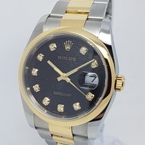 Rolex DateJust Mens Gold & Steel Mens 36mm Factory Diamond...