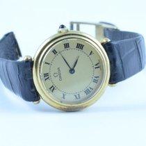 Omega Damen Uhr Handaufzug Vintage 30mm 18k 750 Massiv Gold
