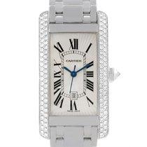 Cartier Tank Americaine Midsize 18k White Gold Diamond Watch 2490