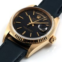 Rolex Mens 18K Yellow Gold President - Black Dial - 18038