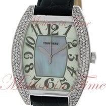 Tourneau Ladies Oval, Mother of Pearl Dial, Diamond Bezel -...