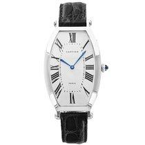 Cartier 2435 Tonneau Cintree in Platinum - on Black Leather...