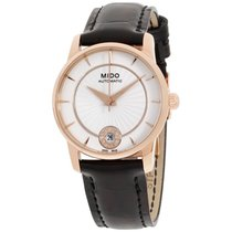 Mido Baroncelli Automatic Silver Dial Black Leather Ladies...