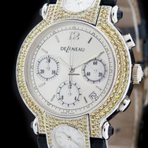 DeLaneau White Gold THREE TIME ZONES Jeweled Watch