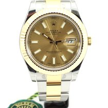 Rolex Date Just II Steel Yellow gold Champagne index 116333 NEW