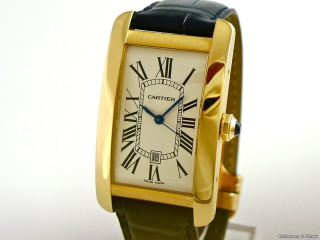 Cartier , Tank Americaine, Man Size, Automatic, 18k Yellow Gold