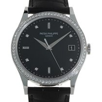 Patek Philippe 5297G-001 Calatrava 38mm Black Diamond Set Date...