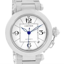 Cartier Pasha C Medium Automatic White Dial Watch W31074m7 Box...