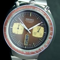 Seiko Bull Head Chronograph Automatic Day Date Steel Mens Watch