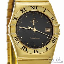 Omega Constellation 18K Yellow Gold Black Dial Watch 33x36mm...
