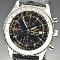 Breitling Navitimer World GMT Chronograph SS Black Dial 46MM...