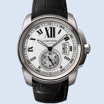 Cartier Calibre de Cartier Stahl Leder weiß -NEU-