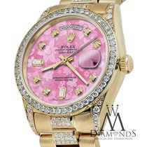 Rolex Presidential 36mm Day Date Pink Flower Dial Diamond...