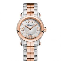 Chopard Happy Sport Silver-Tone Dial 18 Carat Rose Gold and...