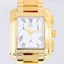 Festina Chronograph 18K Gold massiv selten Luxusuhr White Dial