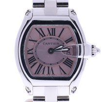 Cartier Roadster Stainless Steel Pink Sunray Dial Watch 2675
