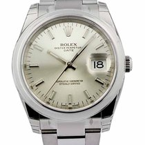 Rolex Oyster Perpetual Date 34 Silver Dial Index Domed Oyster...