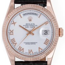 Rolex President Day-Date Men's 18k Rose Gold Watch White...