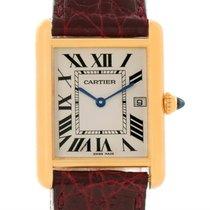 Cartier Tank Louis 18k Yellow Gold Burgundy Strap Date Watch...