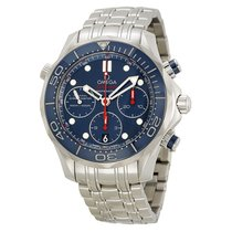 Omega Seamaster Diver Chronograph Blue Dial Steel Mens Watch...
