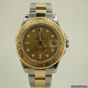 Rolex YACHT MASTER STEEL GOLD MiD SiZE YELLOW DiAL